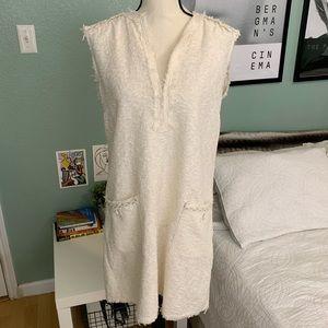 Zara Dresses - Zara | White Tweed Mini Dress Pockets M
